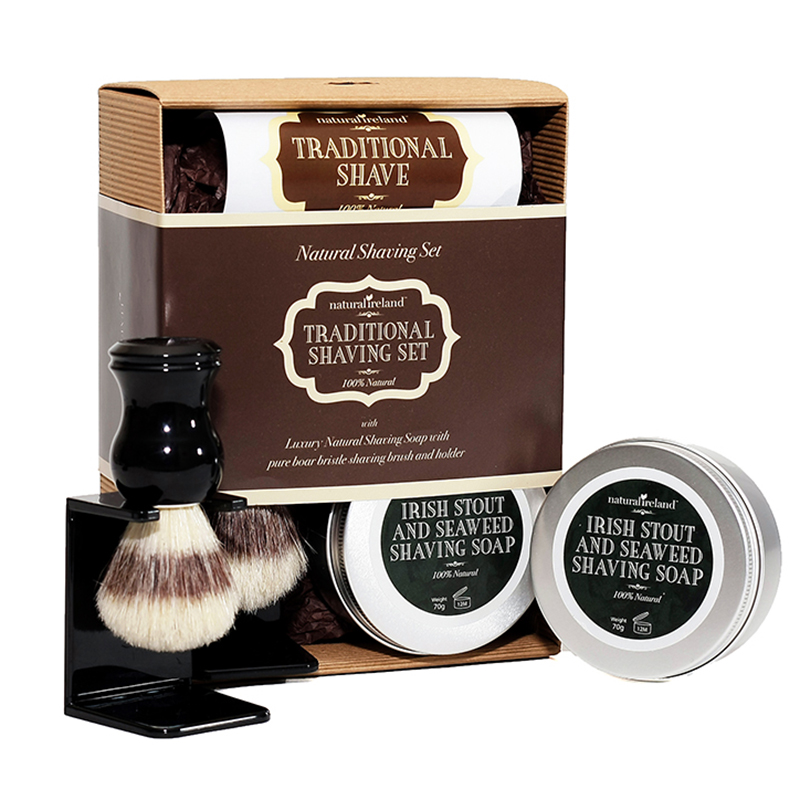 Shaving Gift set, Handmade Shaving Soap and a Pure Boar Bristle Shaving Brush and a Stand for the Shaving Brush.